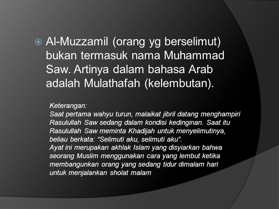 Al-Muzzamil (orang yg berselimut) bukan termasuk nama Muhammad Saw