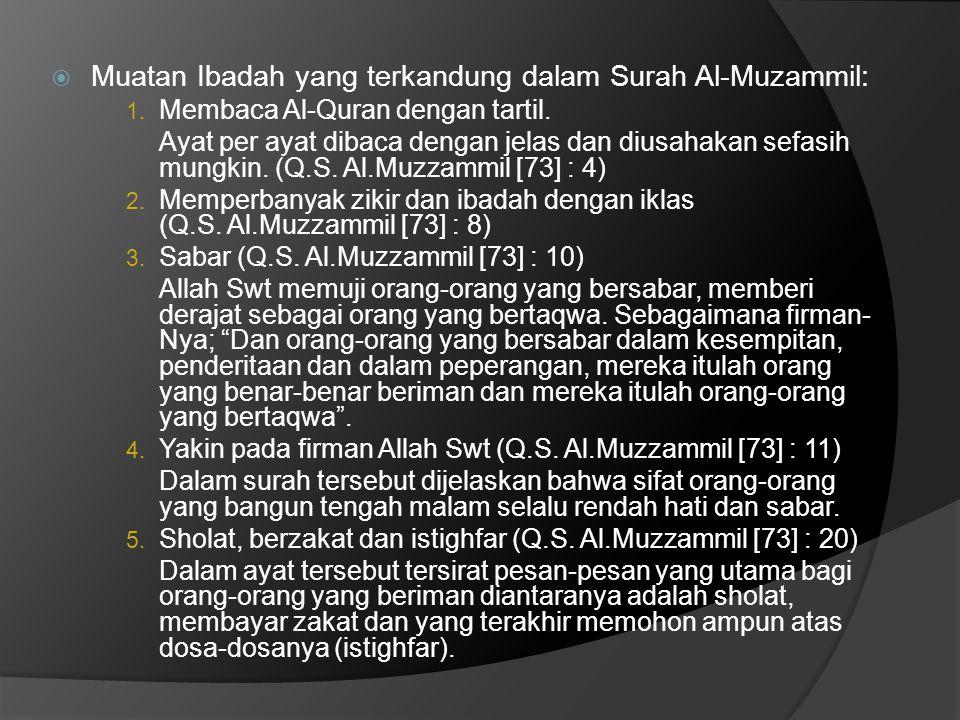 Muatan Ibadah yang terkandung dalam Surah Al-Muzammil: