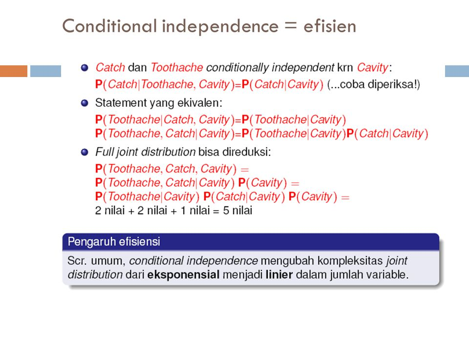 Conditional independence = efisien