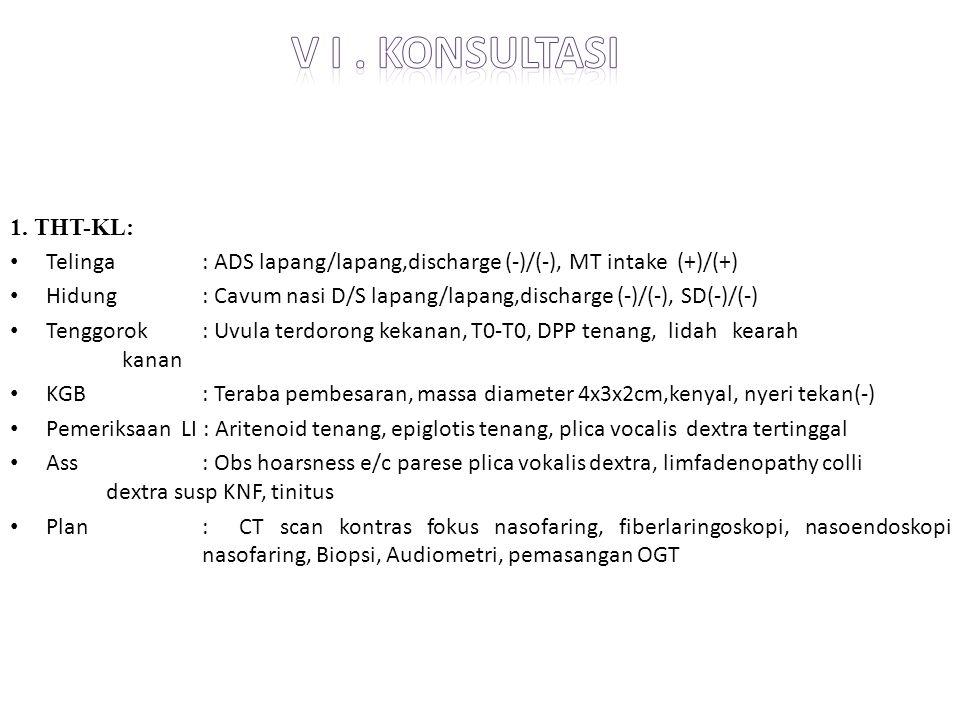 V i . konsultasi 1. THT-KL: Telinga : ADS lapang/lapang,discharge (-)/(-), MT intake (+)/(+)