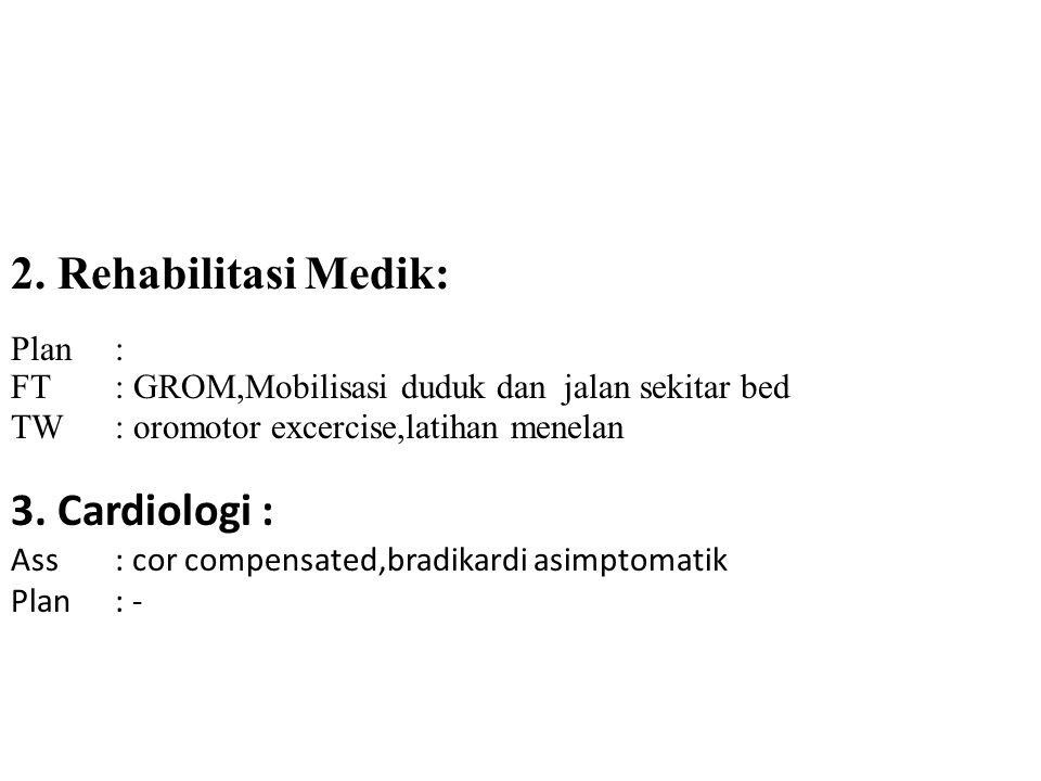 2. Rehabilitasi Medik: 3. Cardiologi : Plan :