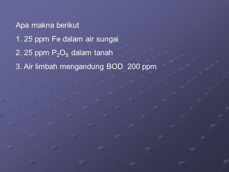 Apa makna berikut 1. 25 ppm Fe dalam air sungai. 2.