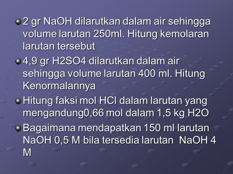 2 gr NaOH dilarutkan dalam air sehingga volume larutan 250ml