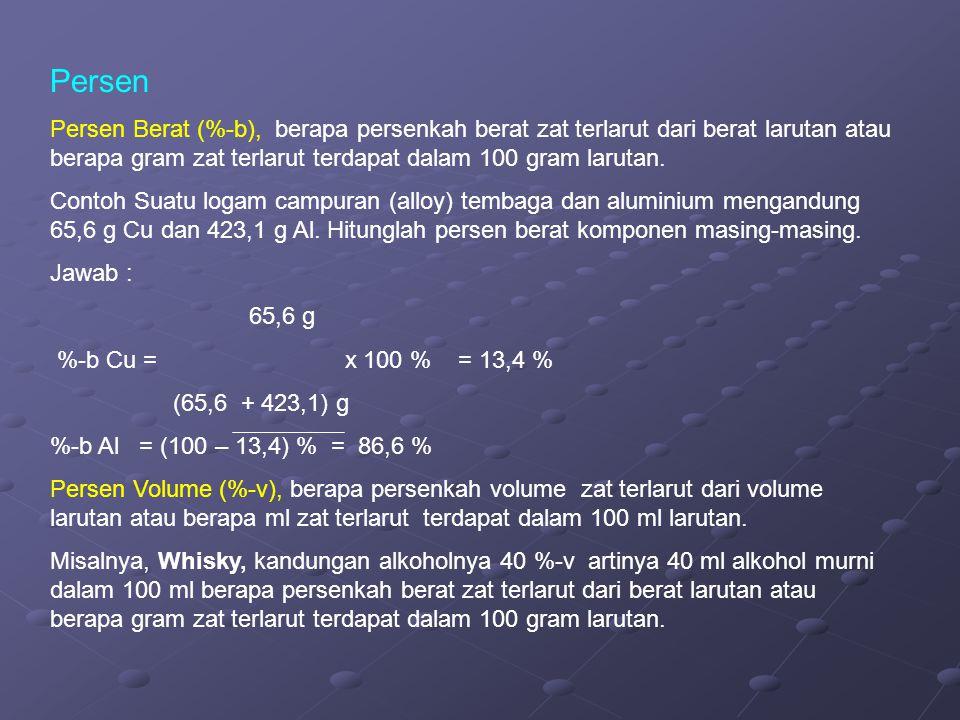 Persen Persen Berat (%-b), berapa persenkah berat zat terlarut dari berat larutan atau berapa gram zat terlarut terdapat dalam 100 gram larutan.