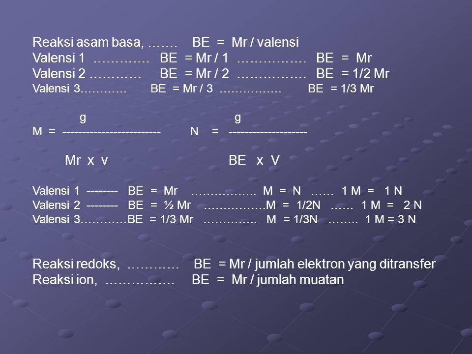 Reaksi asam basa, ……. BE = Mr / valensi