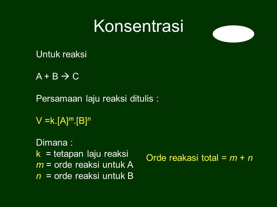 Konsentrasi Untuk reaksi A + B  C Persamaan laju reaksi ditulis :