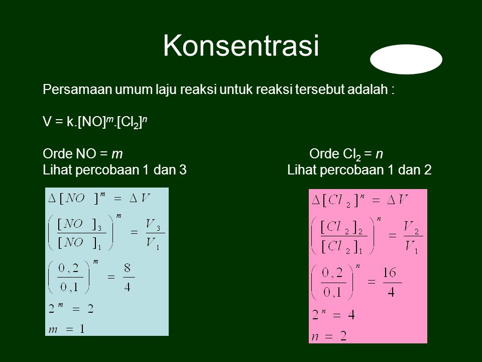 Konsentrasi Persamaan umum laju reaksi untuk reaksi tersebut adalah :