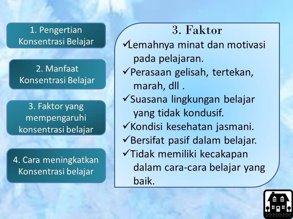 3. Faktor Lemahnya minat dan motivasi pada pelajaran.