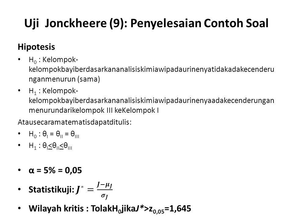 Uji Jonckheere (9): Penyelesaian Contoh Soal