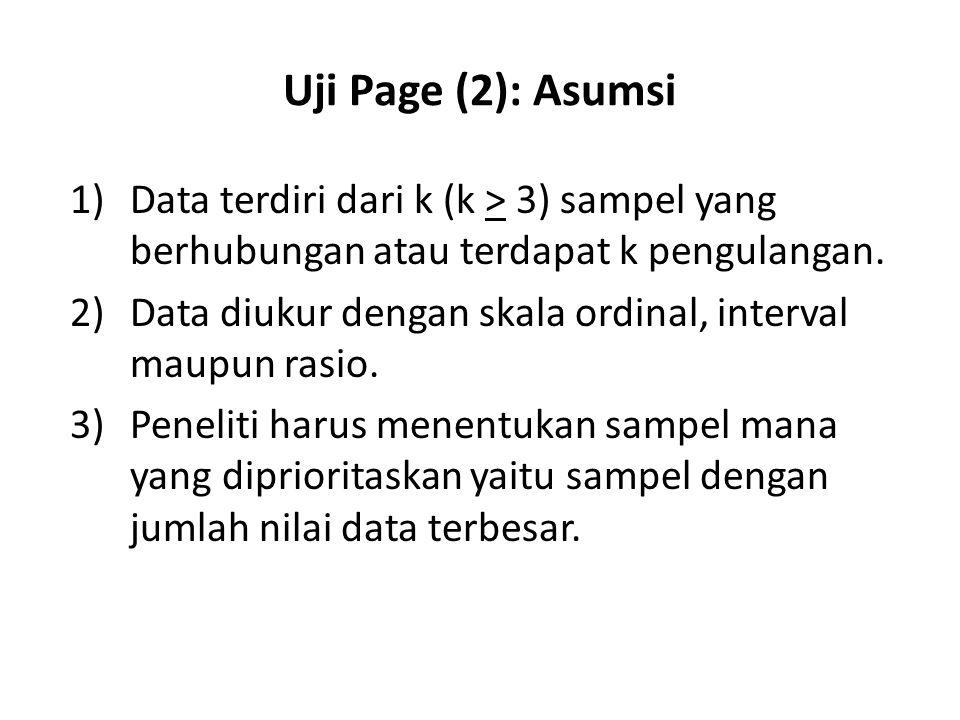 Uji Page (2): Asumsi 1) Data terdiri dari k (k > 3) sampel yang berhubungan atau terdapat k pengulangan.