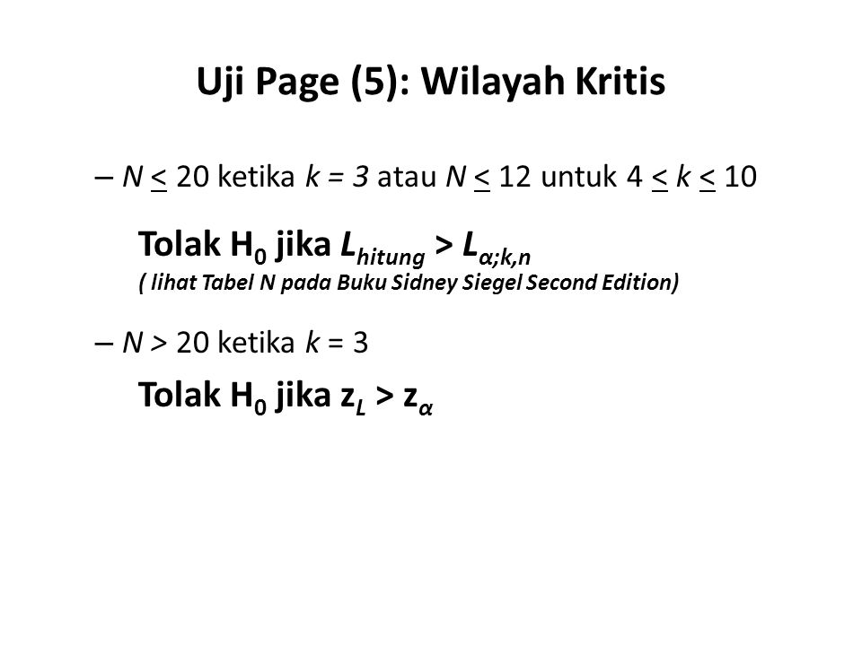 Uji Page (5): Wilayah Kritis