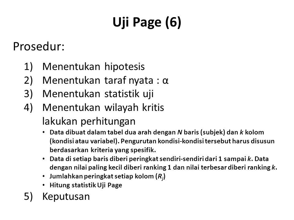 Uji Page (6) Prosedur: 1) Menentukan hipotesis