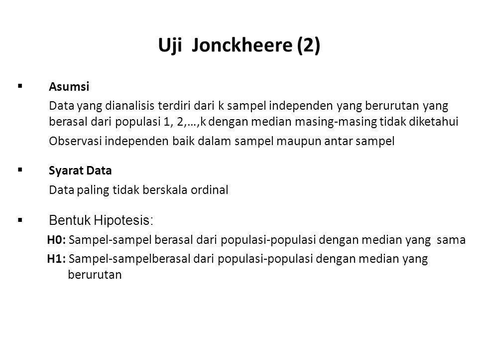 Uji Jonckheere (2) Asumsi
