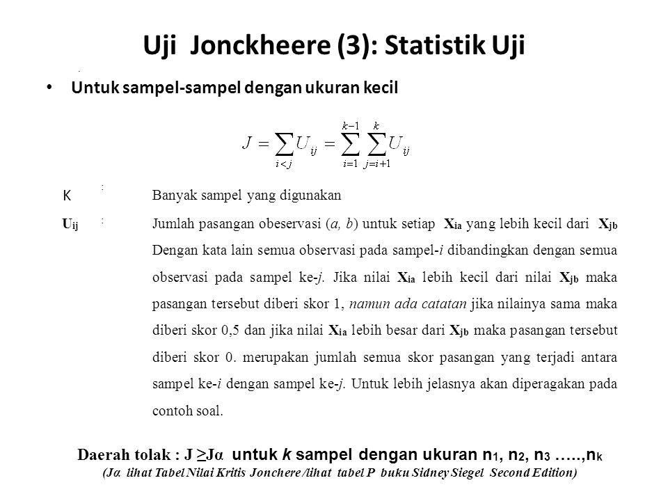 Uji Jonckheere (3): Statistik Uji