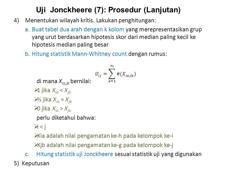 Uji Jonckheere (7): Prosedur (Lanjutan)