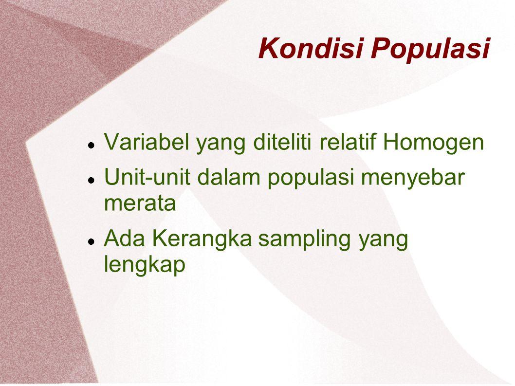 Kondisi Populasi Variabel yang diteliti relatif Homogen