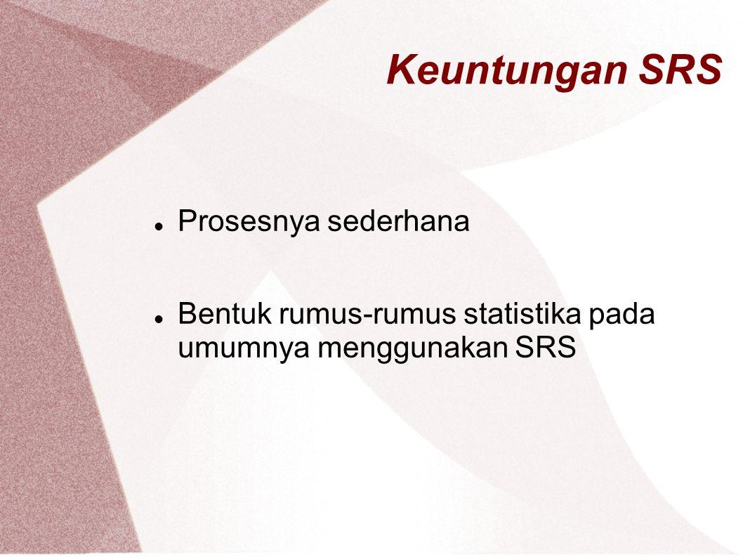 Keuntungan SRS Prosesnya sederhana