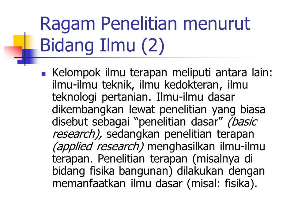 Ragam Penelitian menurut Bidang Ilmu (2)