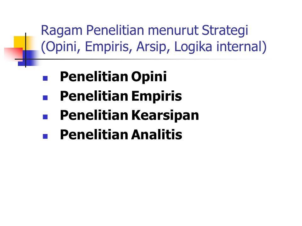 Ragam Penelitian menurut Strategi (Opini, Empiris, Arsip, Logika internal)