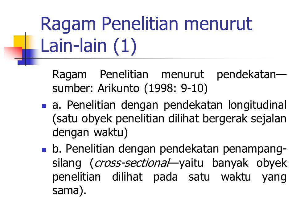 Ragam Penelitian menurut Lain-lain (1)