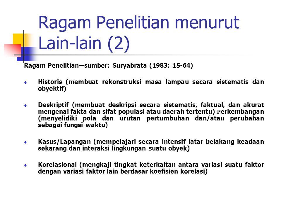 Ragam Penelitian menurut Lain-lain (2)