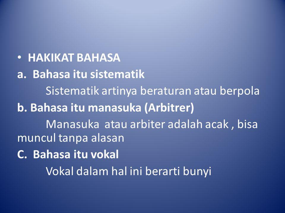 HAKIKAT BAHASA a. Bahasa itu sistematik. Sistematik artinya beraturan atau berpola. b. Bahasa itu manasuka (Arbitrer)