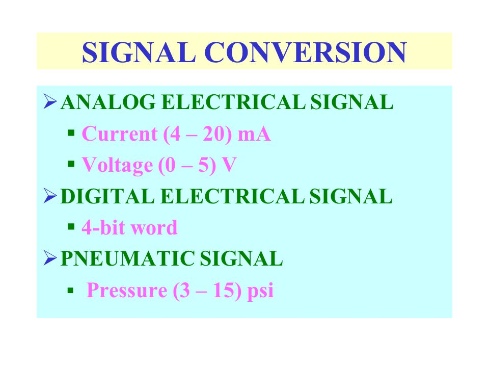 SIGNAL CONVERSION ANALOG ELECTRICAL SIGNAL Current (4 – 20) mA