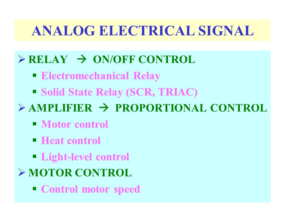 ANALOG ELECTRICAL SIGNAL