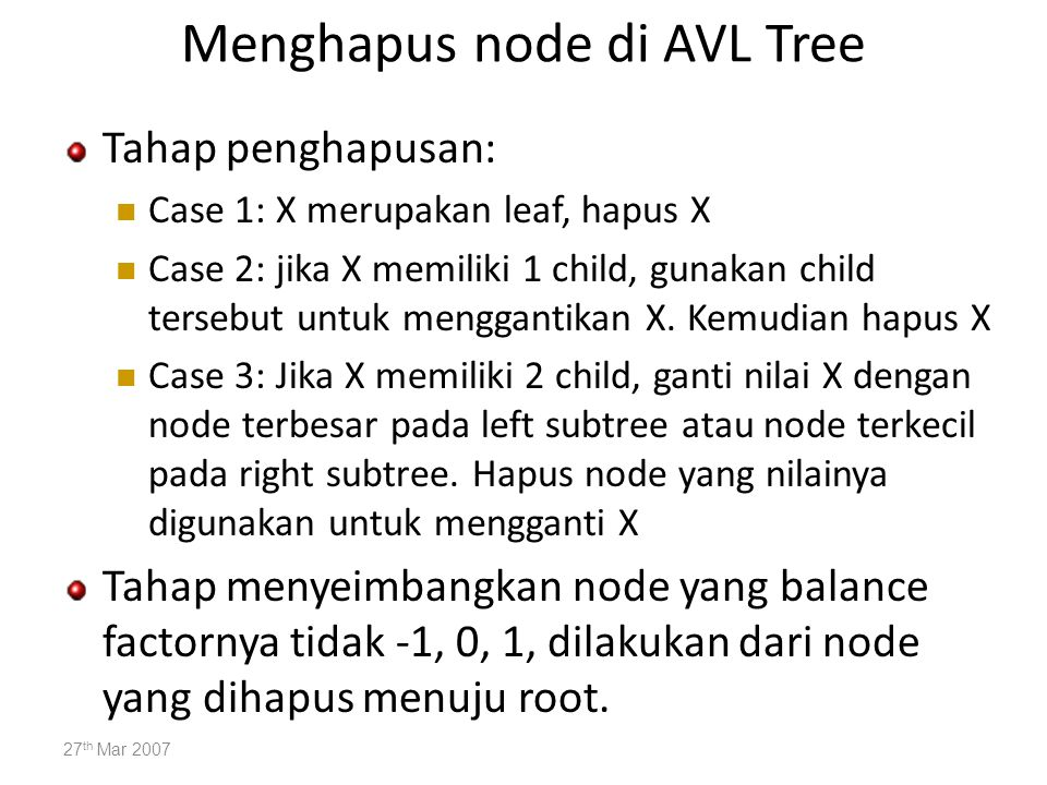 Menghapus node di AVL Tree