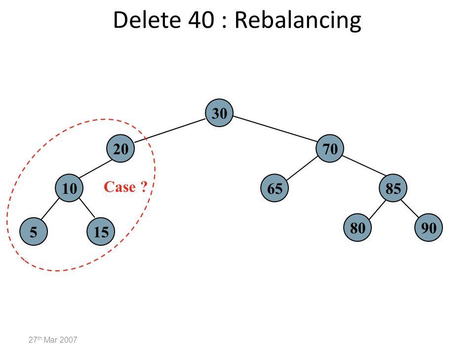 Delete 40 : Rebalancing 30 20 70 10 Case 65 85 80 90 5 15