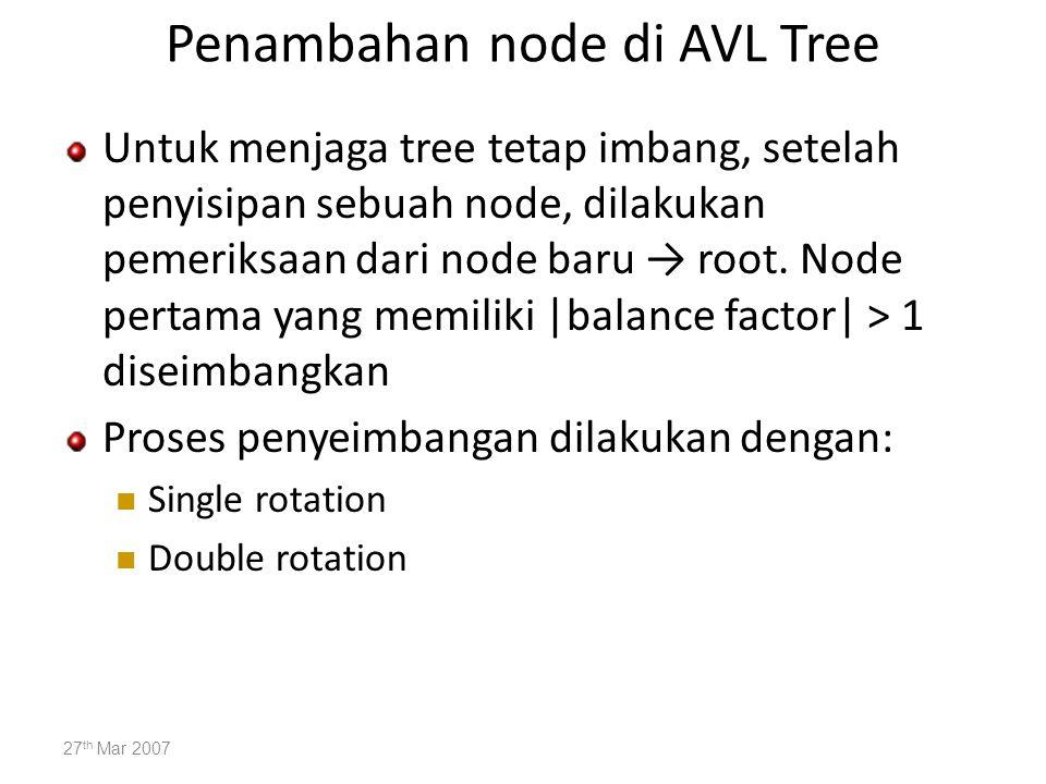 Penambahan node di AVL Tree