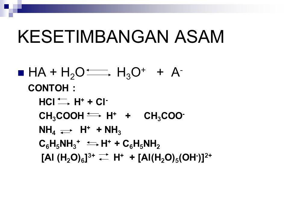KESETIMBANGAN ASAM HA + H2O H3O+ + A- CONTOH : HCl H+ + Cl-