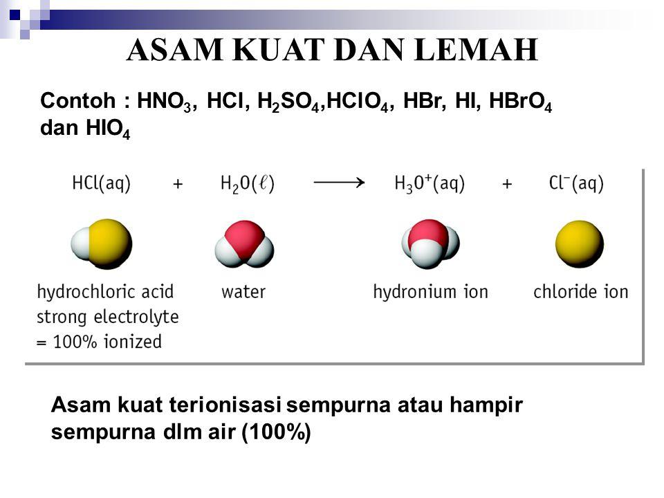 ASAM KUAT DAN LEMAH Contoh : HNO3, HCl, H2SO4,HClO4, HBr, HI, HBrO4 dan HIO4.