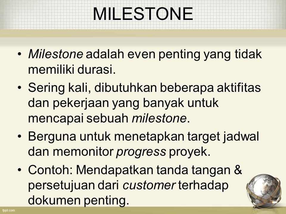 MILESTONE Milestone adalah even penting yang tidak memiliki durasi.