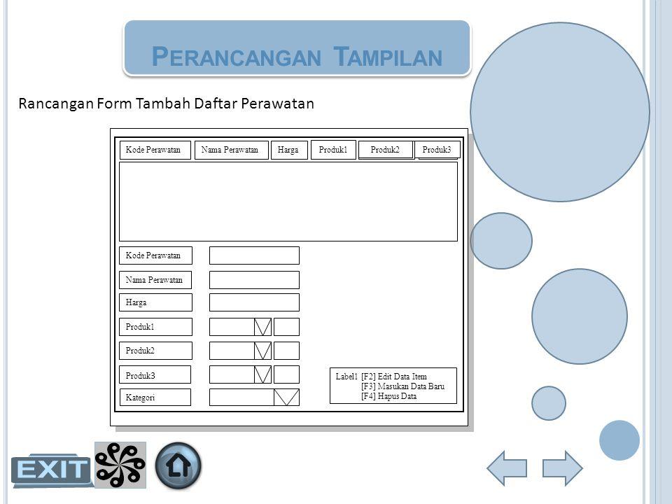 Perancangan Tampilan Rancangan Form Tambah Daftar Perawatan