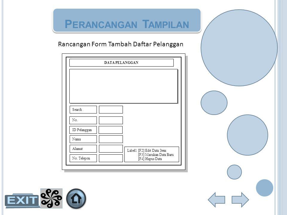 Perancangan Tampilan Rancangan Form Tambah Daftar Pelanggan