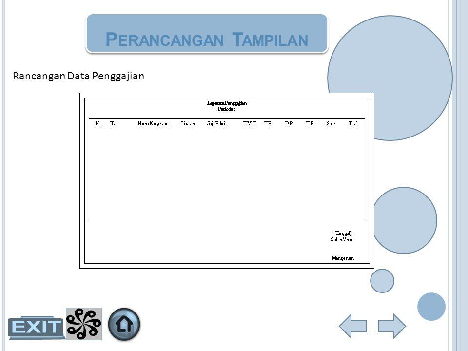 Perancangan Tampilan Rancangan Data Penggajian