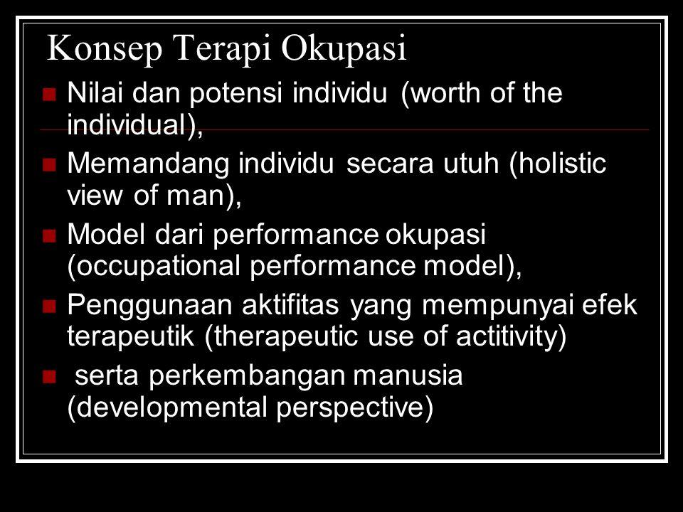 Konsep Terapi Okupasi Nilai dan potensi individu (worth of the individual), Memandang individu secara utuh (holistic view of man),