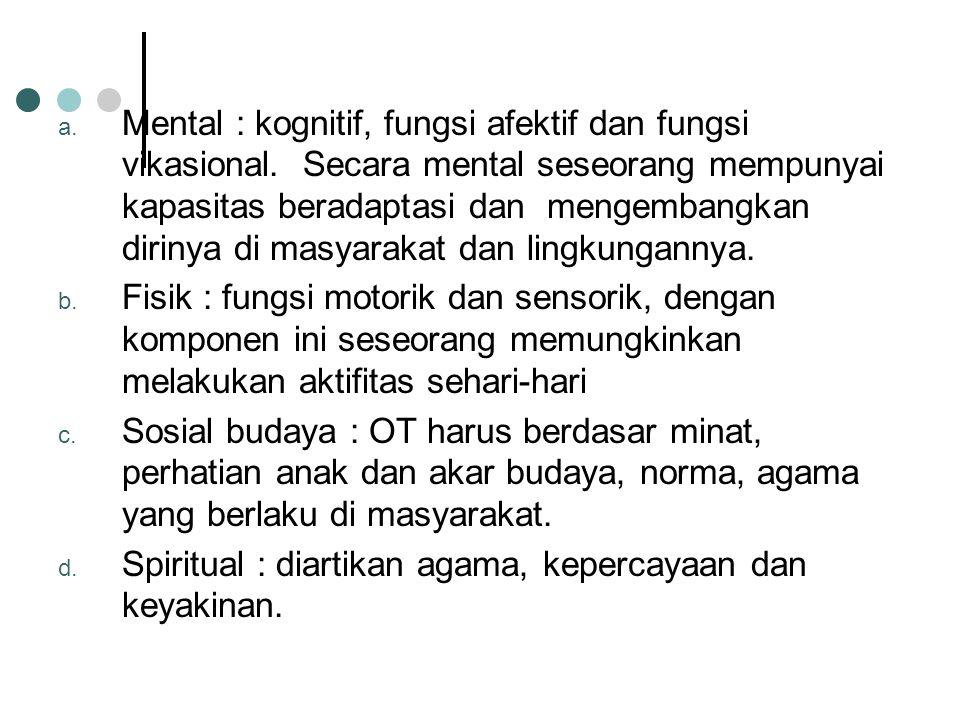 Mental : kognitif, fungsi afektif dan fungsi vikasional
