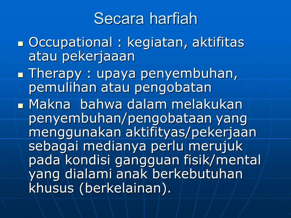 Secara harfiah Occupational : kegiatan, aktifitas atau pekerjaaan