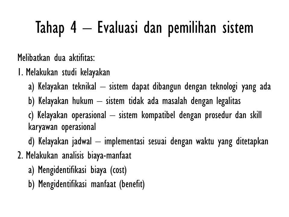 Tahap 4 – Evaluasi dan pemilihan sistem