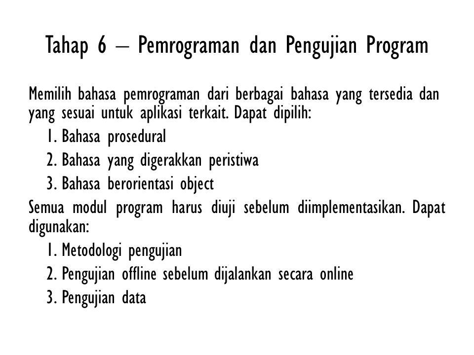 Tahap 6 – Pemrograman dan Pengujian Program