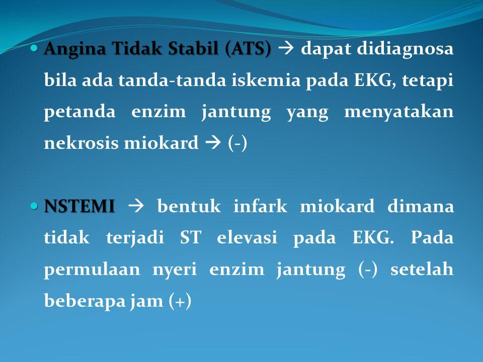 Angina Tidak Stabil (ATS)  dapat didiagnosa bila ada tanda-tanda iskemia pada EKG, tetapi petanda enzim jantung yang menyatakan nekrosis miokard  (-)