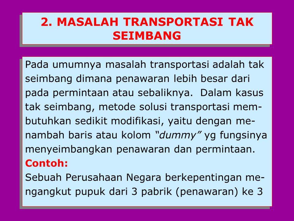 2. MASALAH TRANSPORTASI TAK SEIMBANG