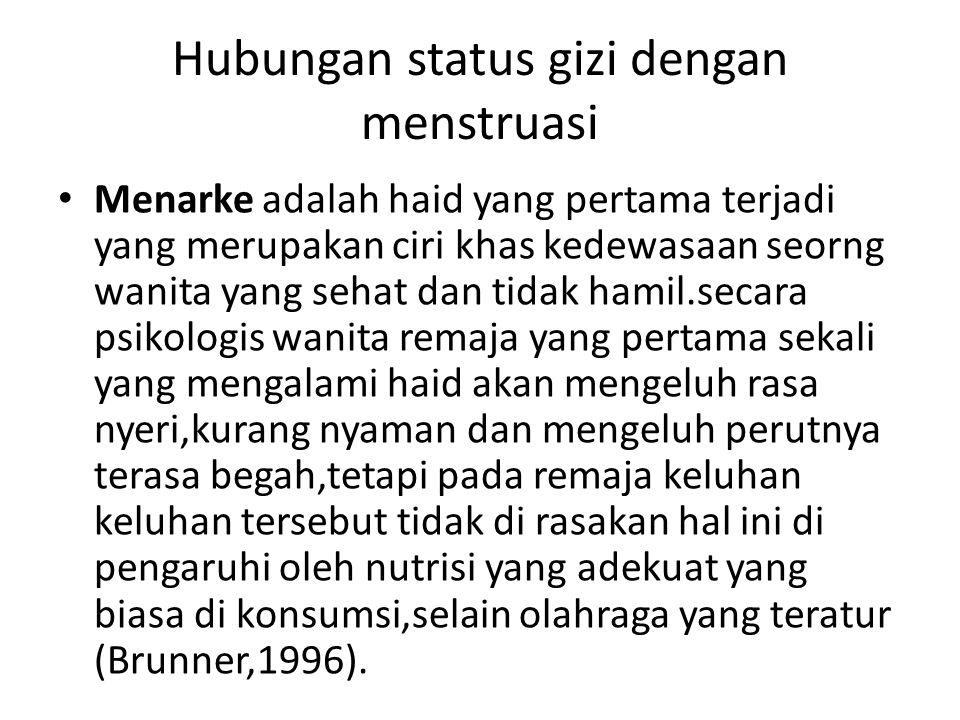 Hubungan status gizi dengan menstruasi