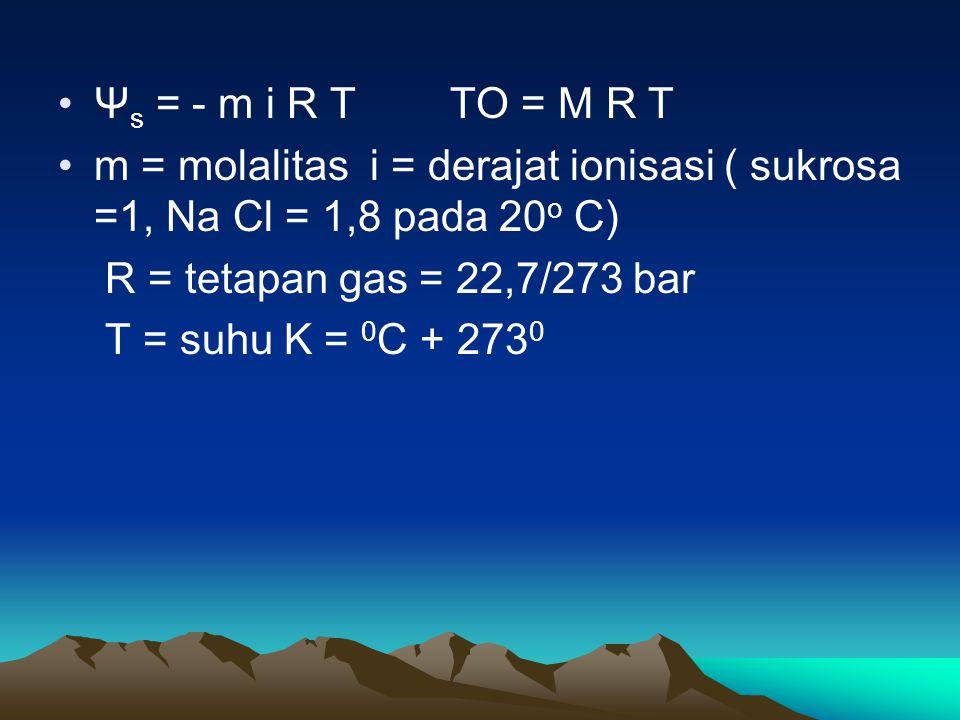 Ψs = - m i R T TO = M R T m = molalitas i = derajat ionisasi ( sukrosa =1, Na Cl = 1,8 pada 20o C)