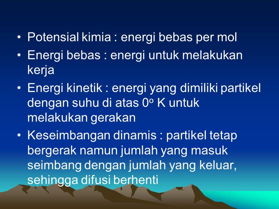 Potensial kimia : energi bebas per mol