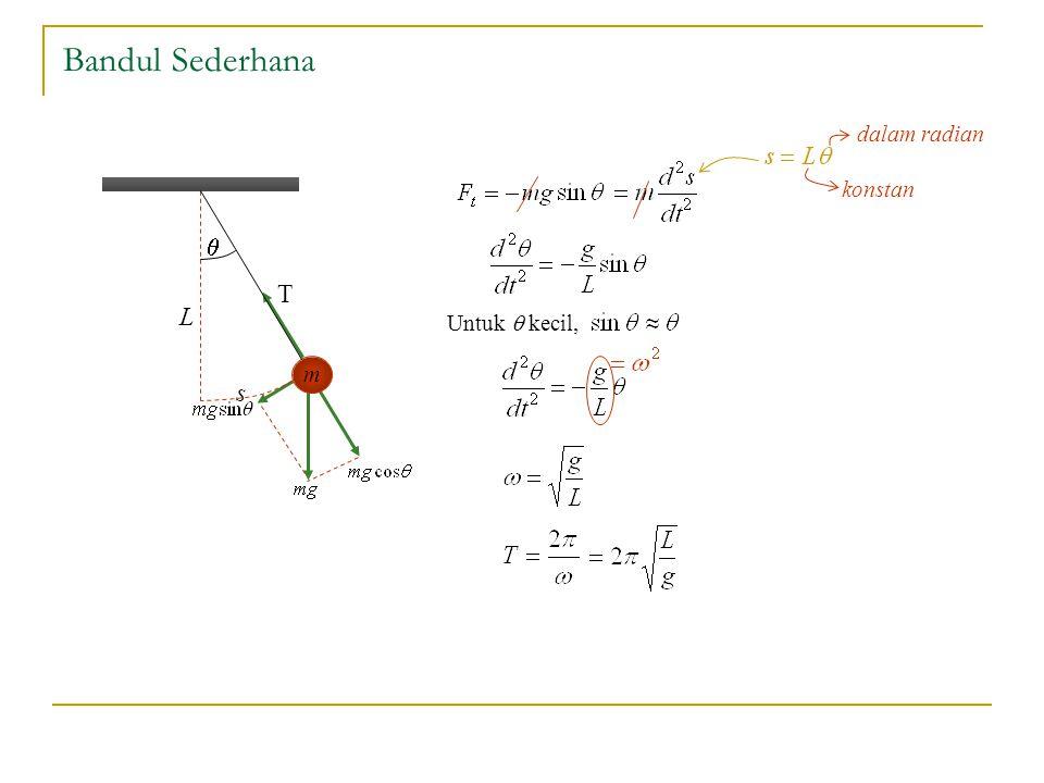 Bandul Sederhana dalam radian konstan q s L m T Untuk q kecil,