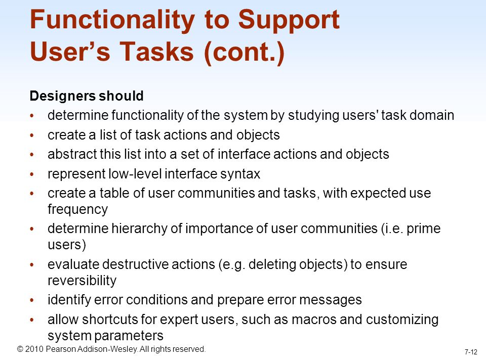 Functionality to Support User's Tasks (cont.)