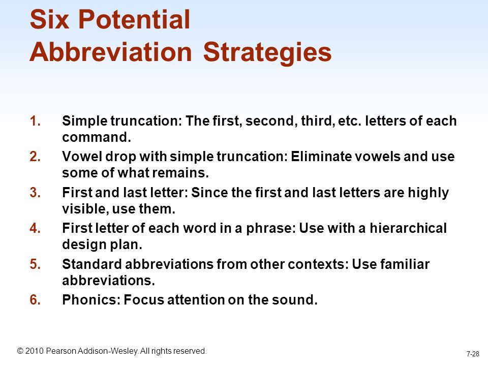Six Potential Abbreviation Strategies
